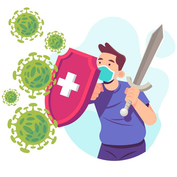 protection covid 19 garcon avec bouclier et epee contre virus